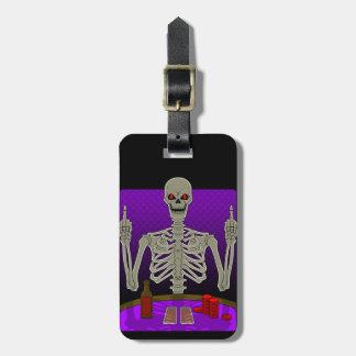 Secousse squelettique de tisonnier étiquette à bagage
