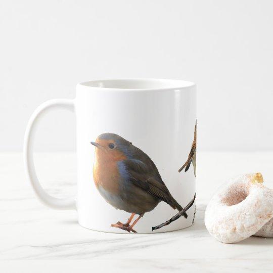 Seins européens de rouge d'oiseaux de Robin de Mug Blanc