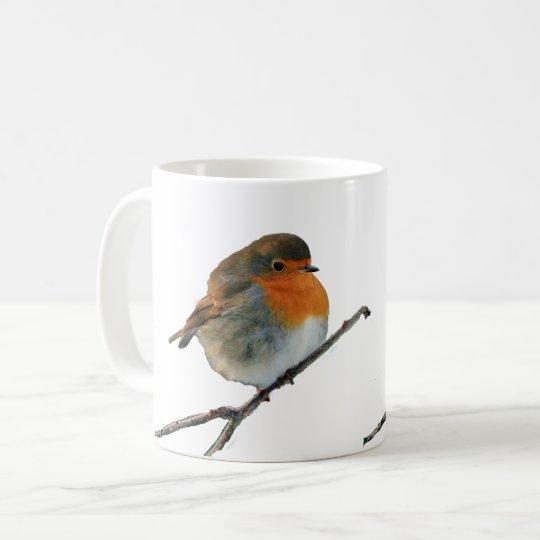 Seins rouges de l'anglais d'oiseau européen de mug