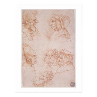 Sept études des visages grotesques (craie rouge carte postale