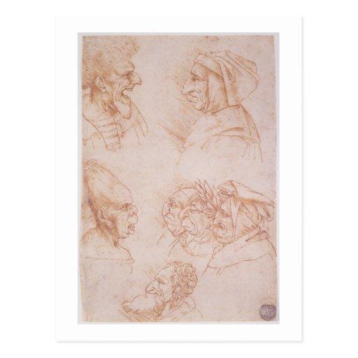 Sept études des visages grotesques (craie rouge su carte postale