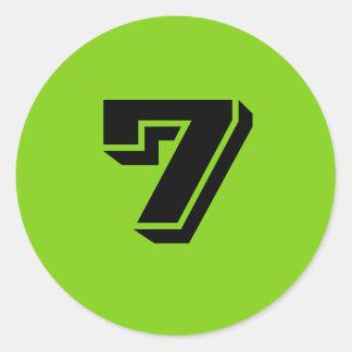 Sept grands autocollants verts ronds de nombre par