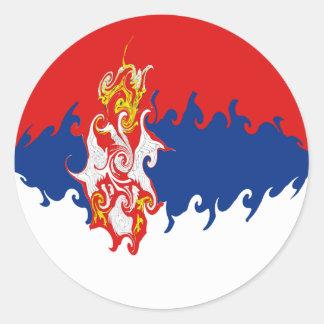Serbia Gnarly Flag Round Sticker