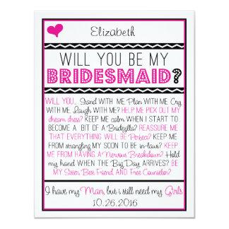 Serez-vous ma demoiselle d'honneur ? Carte Carton D'invitation 10,79 Cm X 13,97 Cm