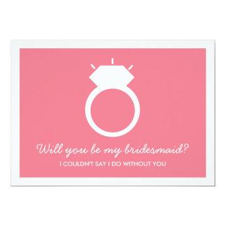 Serez-vous ma demoiselle d'honneur ? Carte rose Carton D'invitation 12,7 Cm X 17,78 Cm