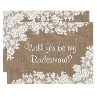 Serez-vous ma demoiselle d'honneur ? Toile de jute Carton D'invitation 12,7 Cm X 17,78 Cm