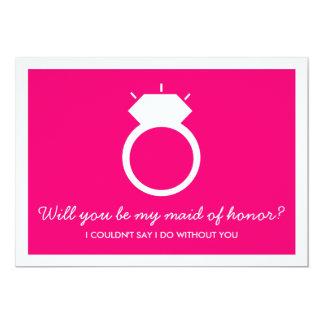 Serez-vous ma domestique d'honneur ? Carte rose Carton D'invitation 12,7 Cm X 17,78 Cm