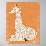 Série animale africaine - girafe de bébé posters