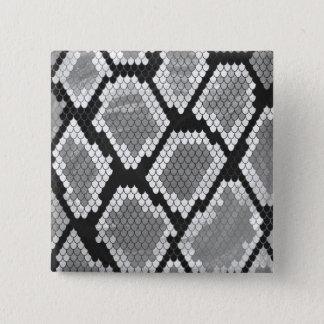 Serpent copie grise, de blanc et de noir badge carré 5 cm