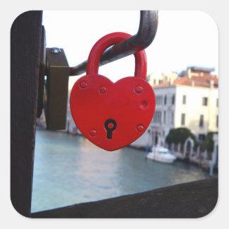 serrure d'amour à Venise Sticker Carré
