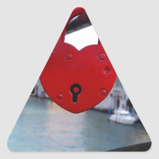 serrure d'amour à Venise Sticker Triangulaire