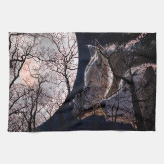 Serviette de cuisine abstraite d'arbre de loup de