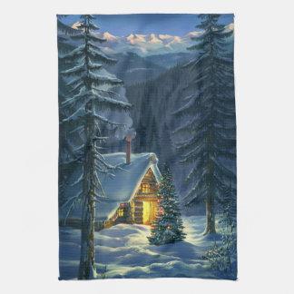 Serviette de cuisine de paysage de neige de Noël