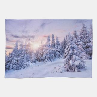 Serviette de cuisine de paysage d'hiver