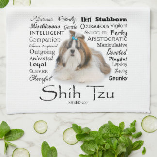 Serviette de cuisine de traits de Shih Tzu