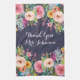 Serviette de cuisine florale peinte par professeur serviettes pour les mains