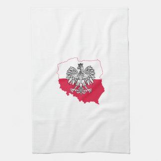 Serviette de cuisine polonaise de drapeau de carte