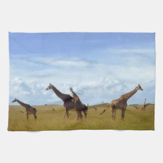 Serviette de cuisine sauvage de girafe de la