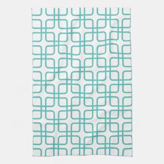 Serviette de cuisine \ turquoise géométriques serviettes éponge