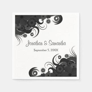 Serviette de papier de mariage gothique noir et serviettes en papier