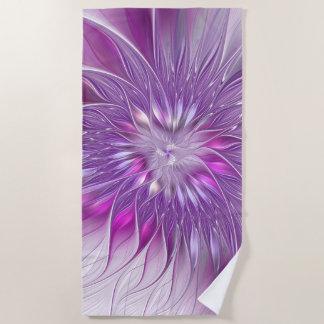 Serviette De Plage Art pourpre rose de fractale d'abrégé sur passion