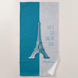 Serviette De Plage Chute dans Tour Eiffel romantique de Paris |