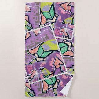 Serviette De Plage Collage coloré d'art de rue