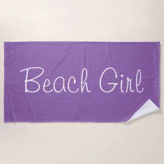 Serviette De Plage Conception pourpre chique de fille de plage