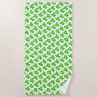 Serviette De Plage Coupez le motif vert et blanc de grenouilles