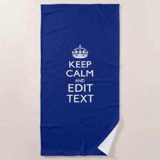 Serviette De Plage Gardez le calme et votre texte sur le bleu marine