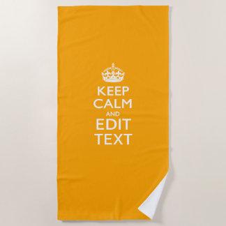 Serviette De Plage Gardez le calme et votre texte sur le jaune