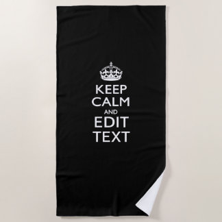 Serviette De Plage Gardez le calme et votre texte sur le noir
