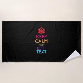 Serviette De Plage Gardez le calme et votre texte sur le noir solide