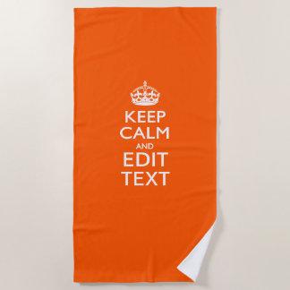 Serviette De Plage Gardez le calme et votre texte sur l'orange