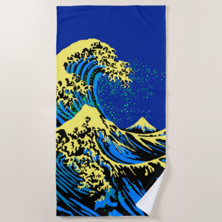 Serviette De Plage La grande vague de Hokusai dans le style jaune