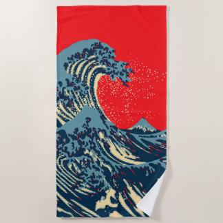 Serviette De Plage La grande vague de Hokusai dans le style vibrant