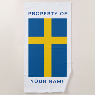 Serviette De Plage Le drapeau suédois de la Suède a personnalisé la