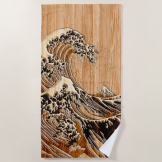 Serviette De Plage Le style en bois en bambou de marqueterie de