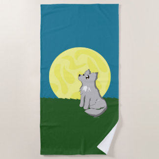 Serviette De Plage Loup délabré mignon avec la plage Towl de lune