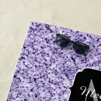 Serviette De Plage Monogramme mauve-clair ultra-violet d'étincelle de