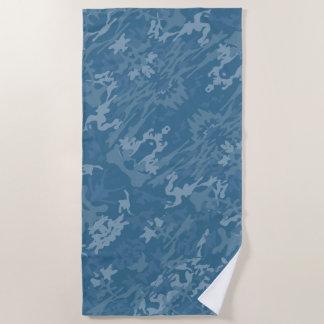 Serviette De Plage Motif bleu de camouflage