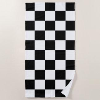 Serviette De Plage Motif Checkered noir et blanc