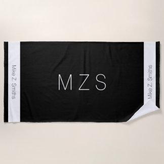 serviette de plage noire/blanche moderne avec le