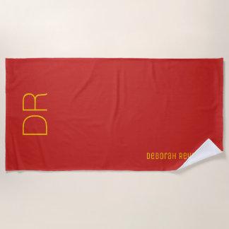 Serviette De Plage nom minimaliste + initiales sur un rouge élégant