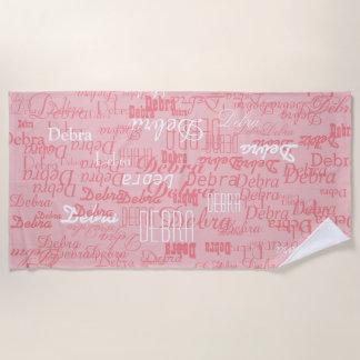 Serviette De Plage noms faits sur commande de couleur de fille, rose