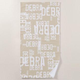Serviette De Plage noms personnalisés de typographie de motif sur le