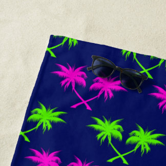 Serviette De Plage Palmiers à motifs de losanges bleus