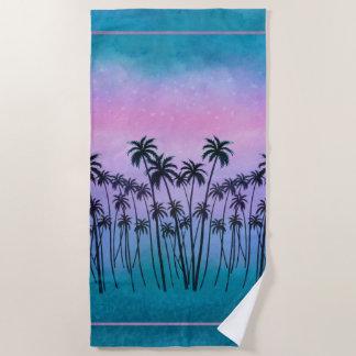 Serviette De Plage palmiers de Pourpre-turquoise