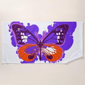 Serviette de plage pourpre de papillon d'art de