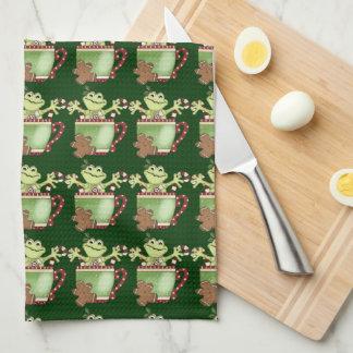 Serviette de tasse de café de grenouille de Noël Serviettes Pour Les Mains